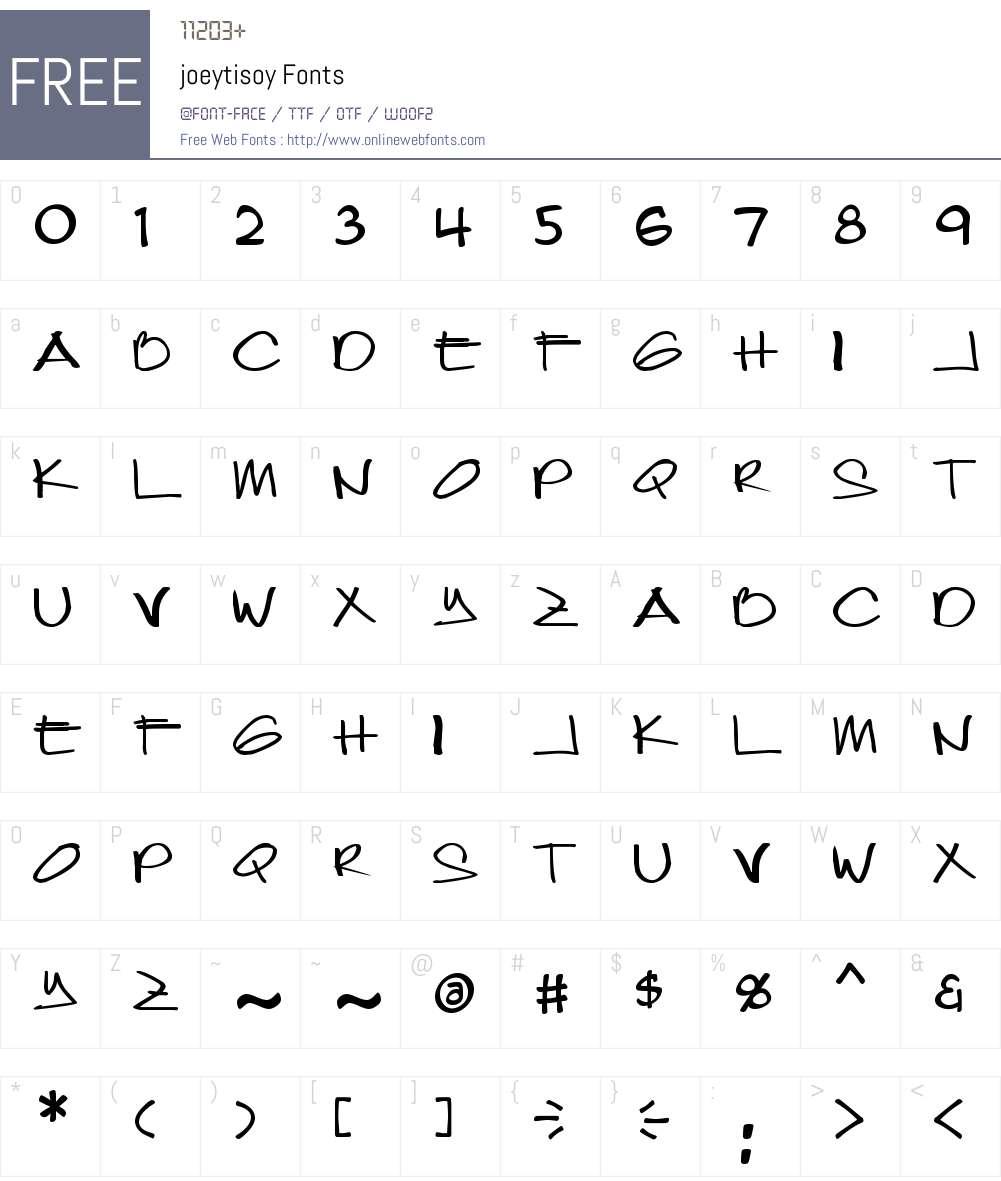 joeytisoy Font Screenshots