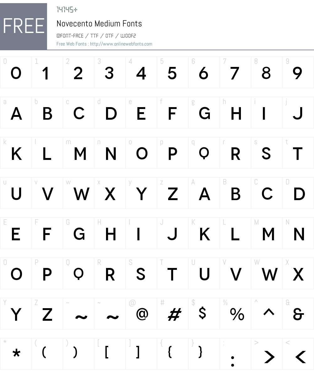 Novecento Medium Font Screenshots