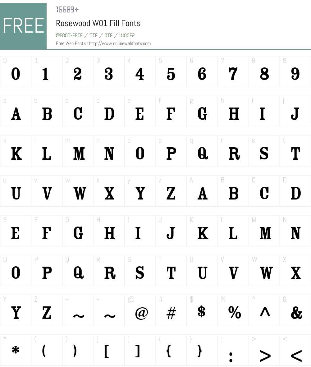 RosewoodW01-Fill Font Screenshots
