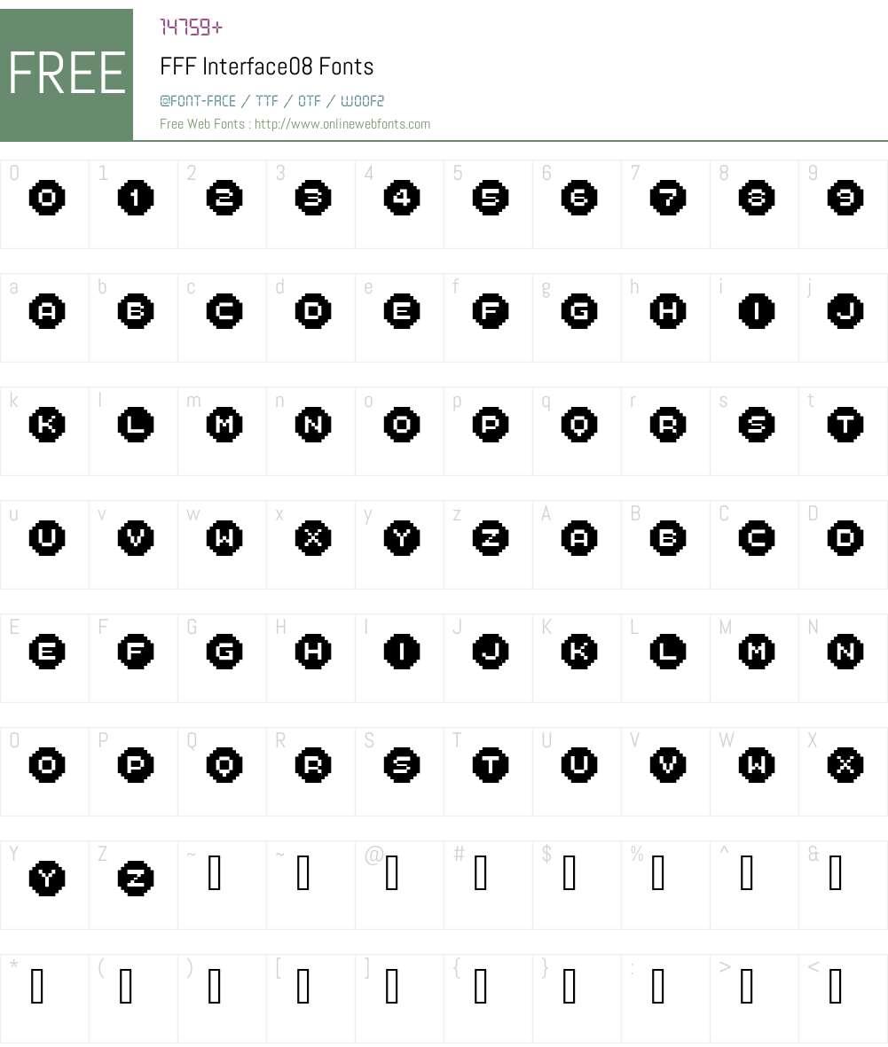 FFF Interface08 Font Screenshots