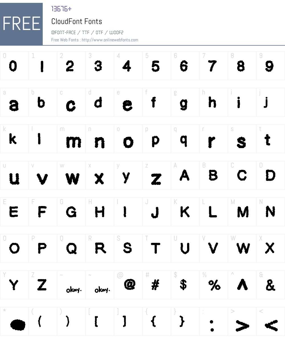 CloudFont Font Screenshots