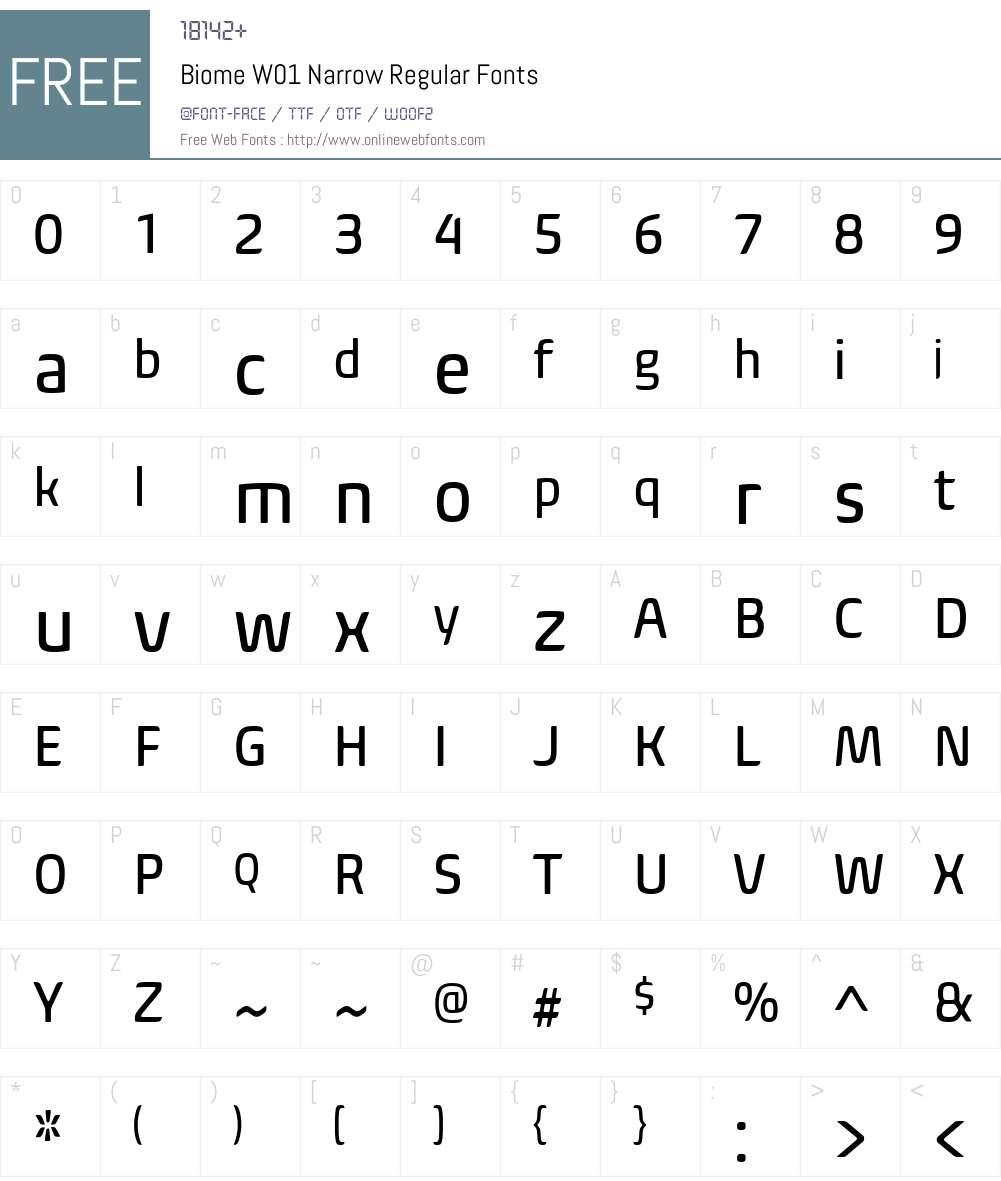 BiomeW01-NarrowRegular Font Screenshots