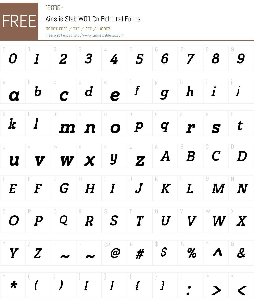 AinslieSlabW01-CondBoldItal Font Screenshots