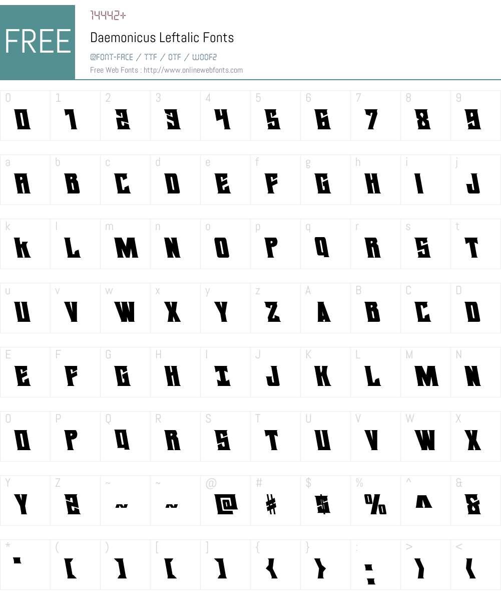 Daemonicus Leftalic Font Screenshots