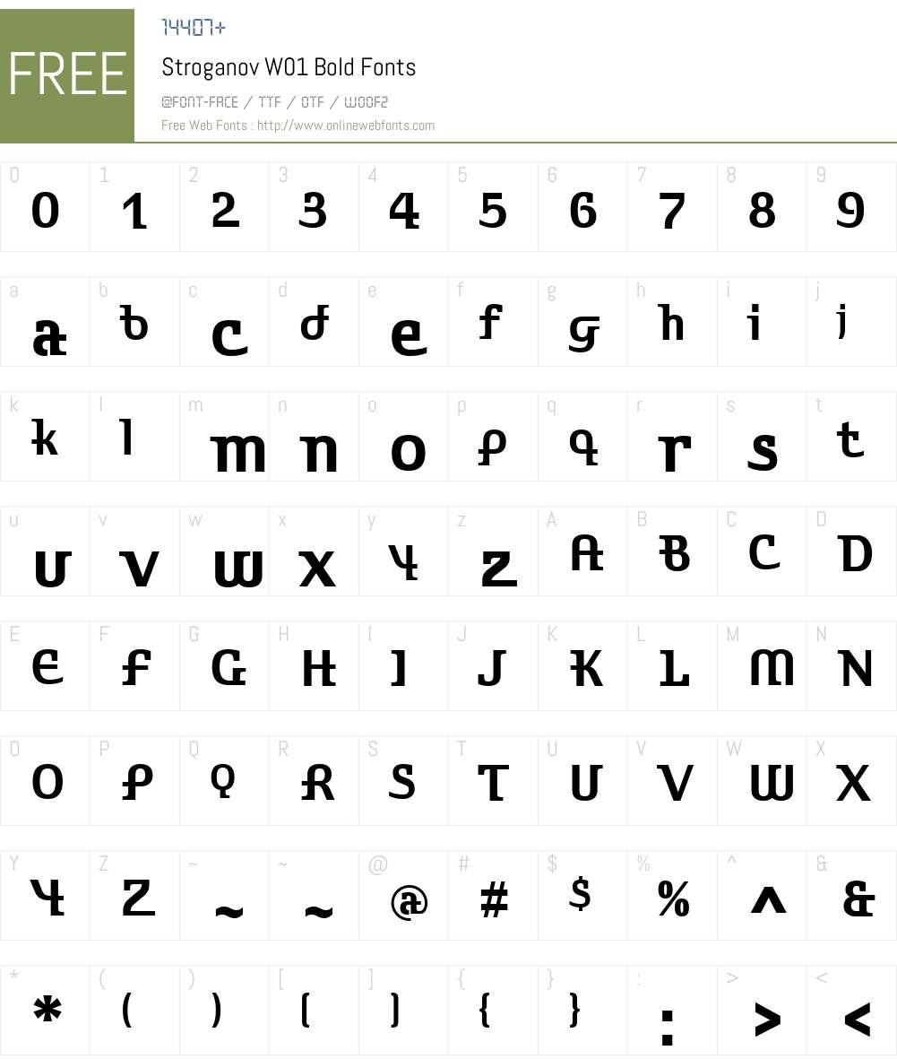 StroganovW01-Bold Font Screenshots