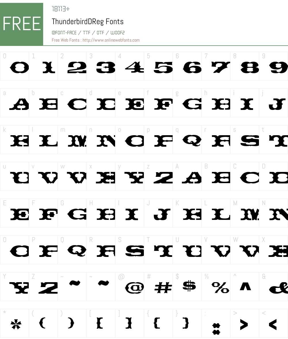 ThunderbirdDReg Font Screenshots
