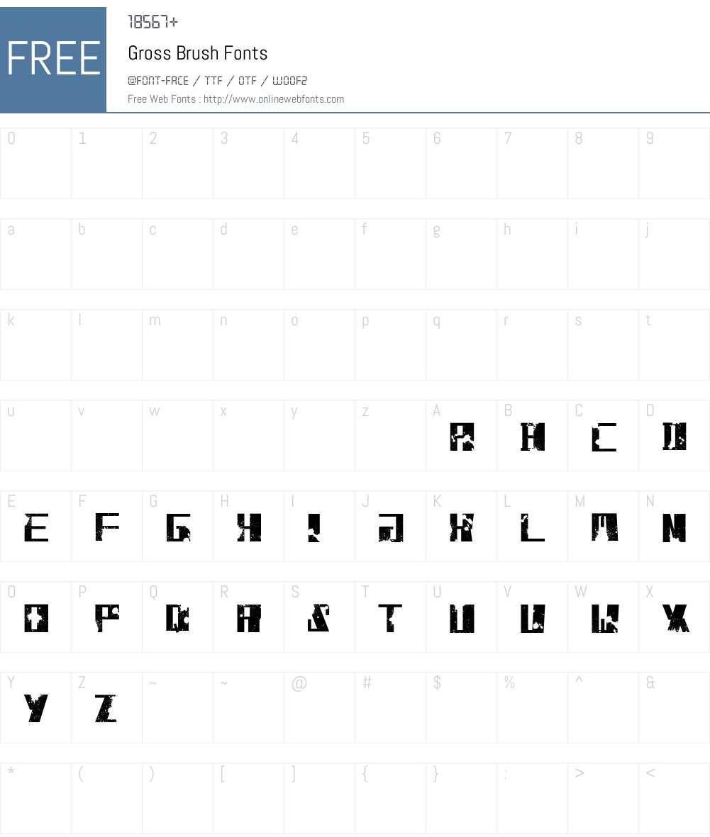 Gross Brush Font Screenshots