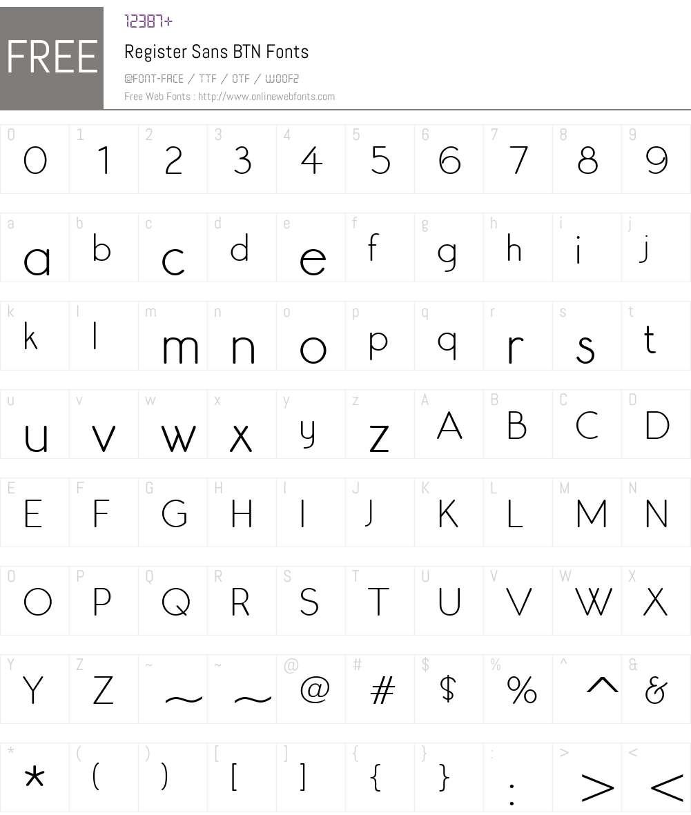 Register Sans BTN Font Screenshots