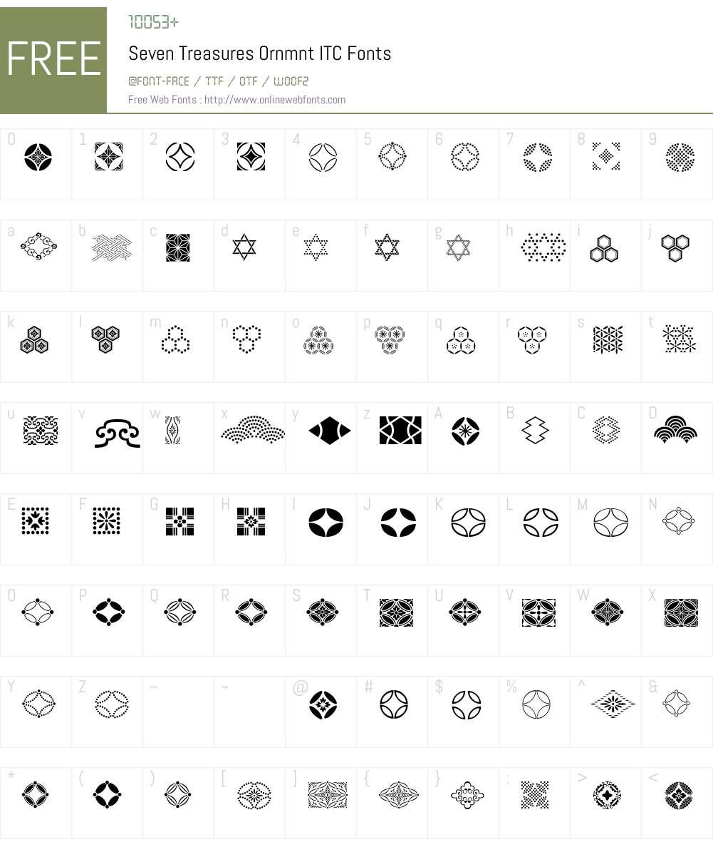 Seven Treasures Ornmnt ITC Font Screenshots
