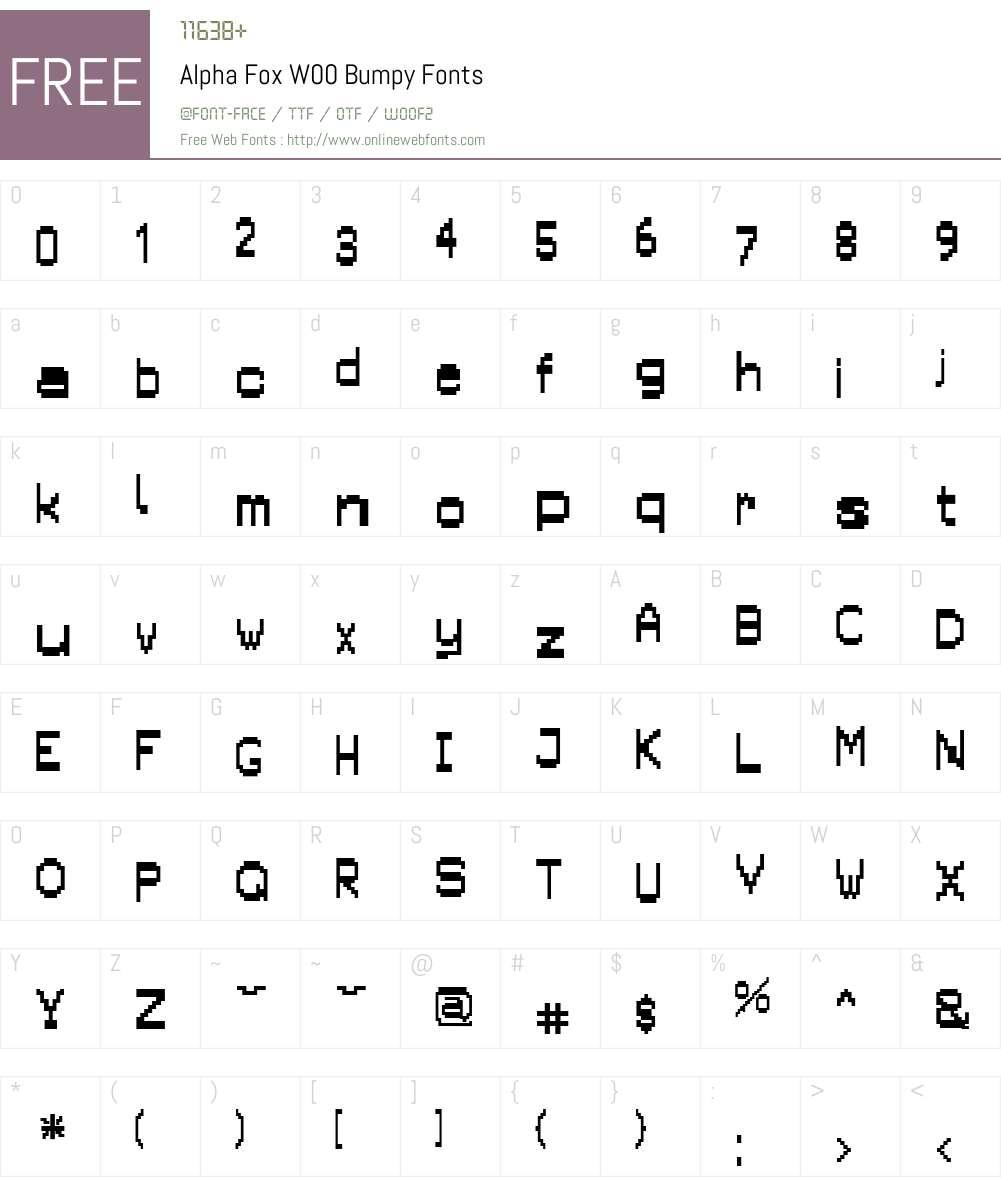 AlphaFoxW00-Bumpy Font Screenshots