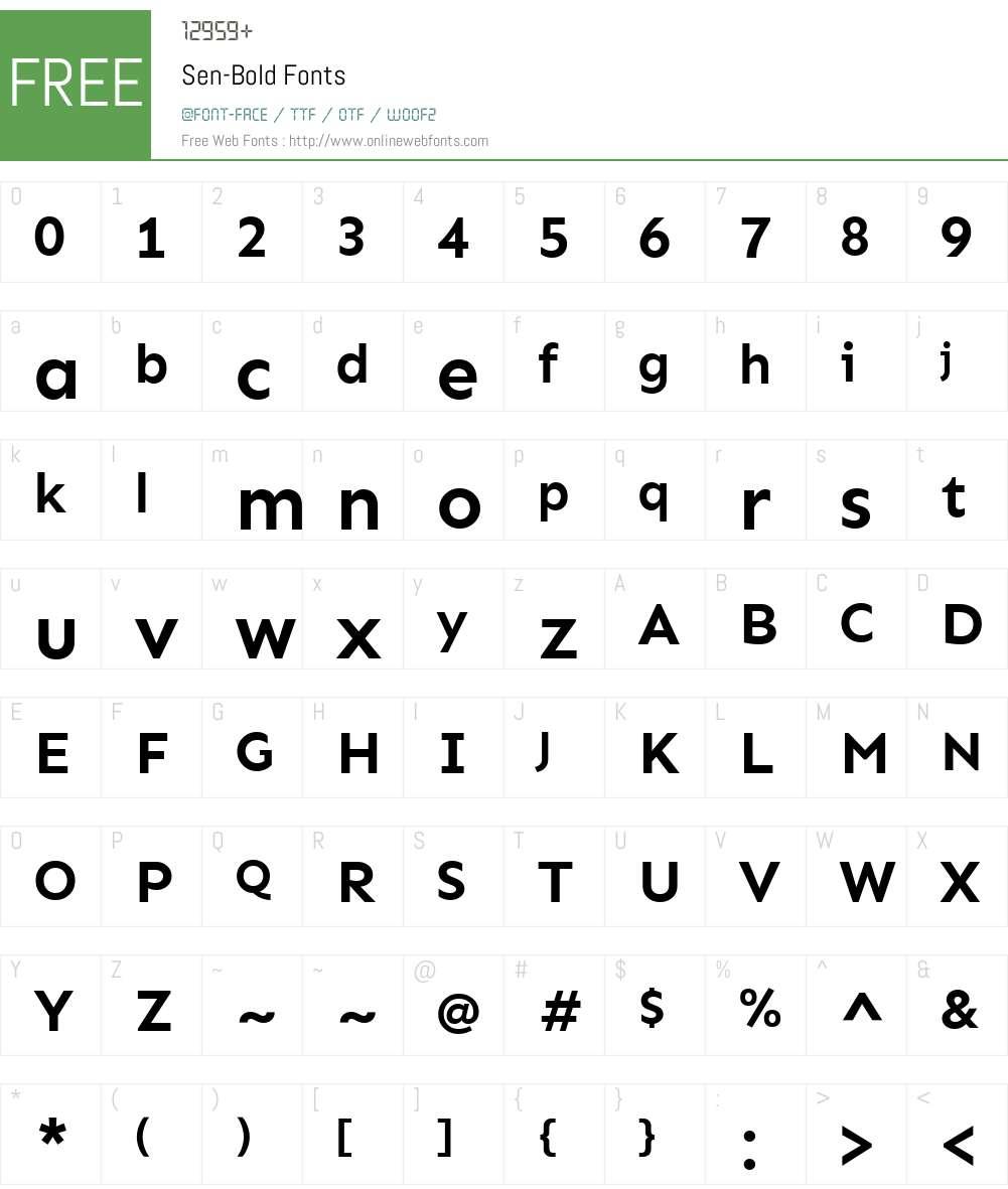 Sen-Bold Font Screenshots