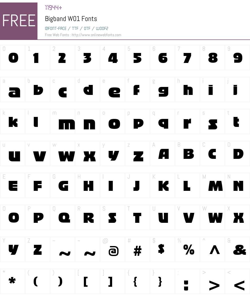 BigbandW01 Font Screenshots