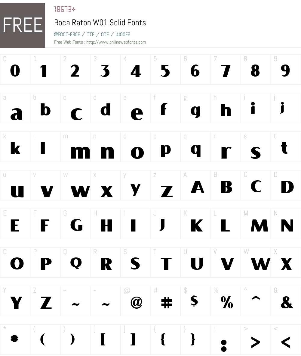BocaRatonW01-Solid Font Screenshots