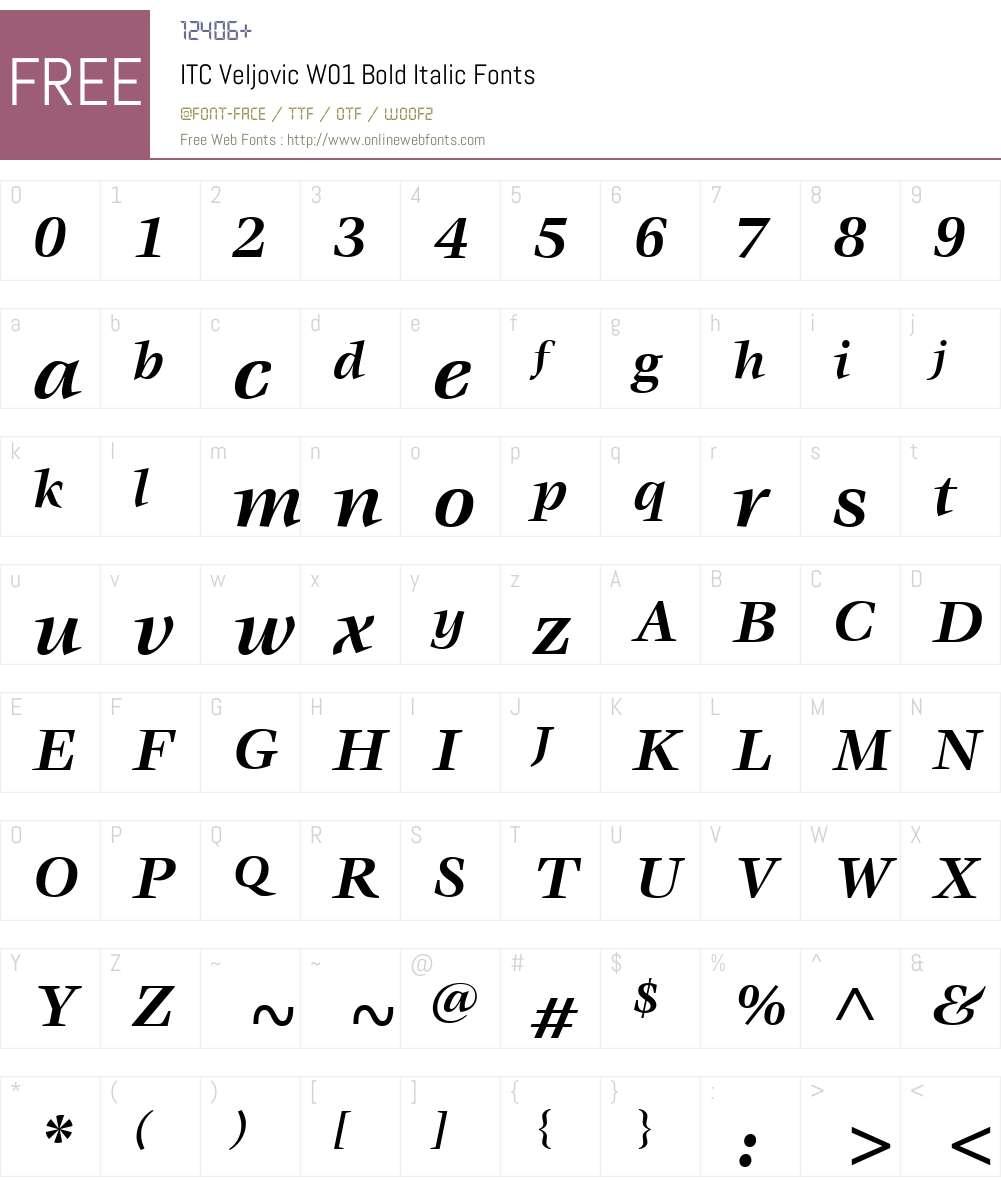 ITCVeljovicW01-BoldItalic Font Screenshots