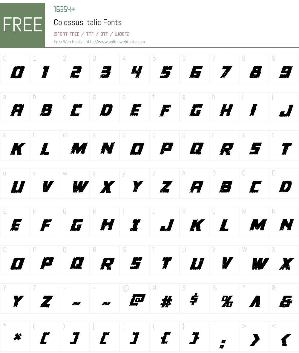 Colossus Italic Font Screenshots