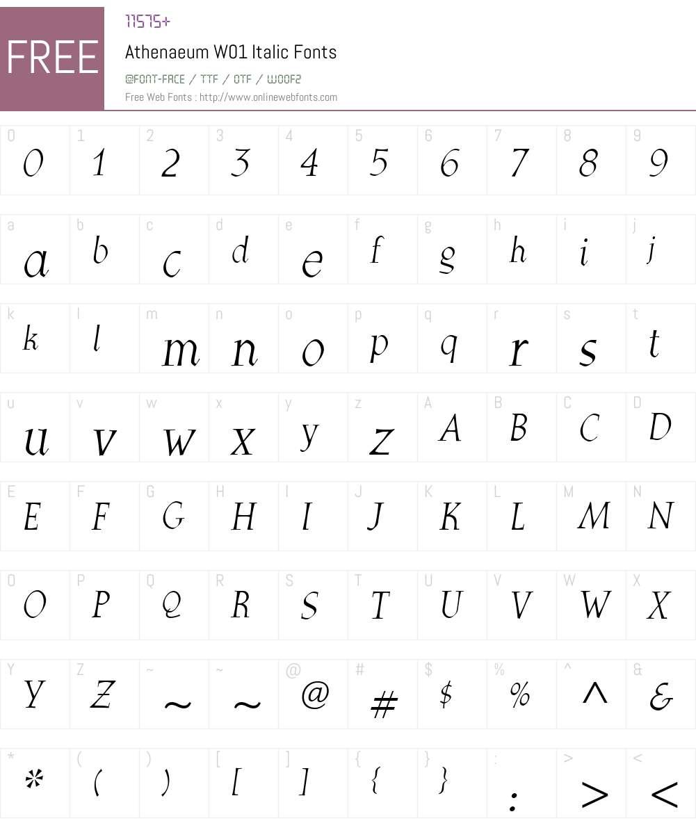 AthenaeumW01-Italic Font Screenshots