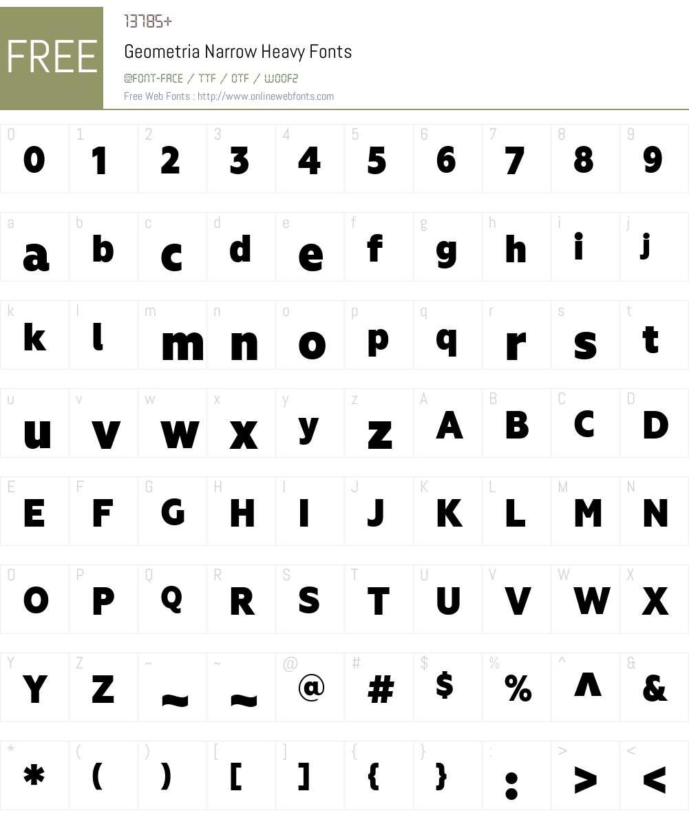 GeometriaNarrow-Heavy Font Screenshots