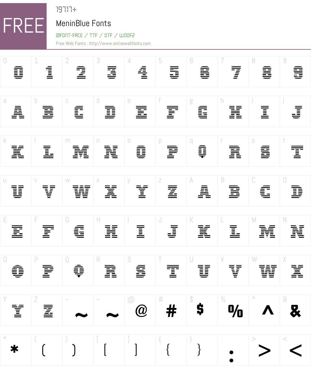 MeninBlue Font Screenshots