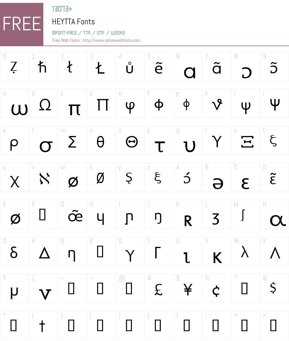 HEYTTA Font Screenshots