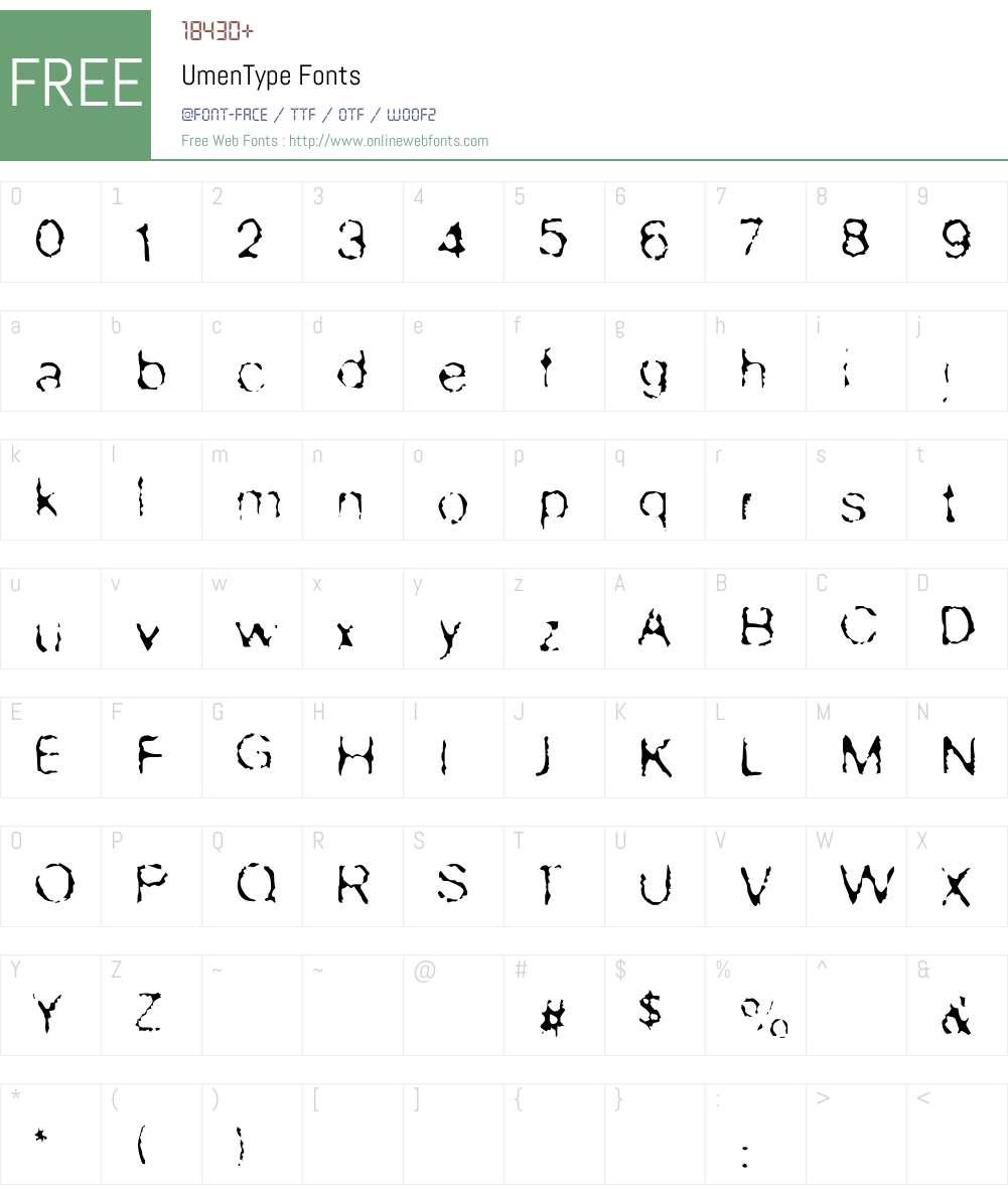 UmenType Font Screenshots