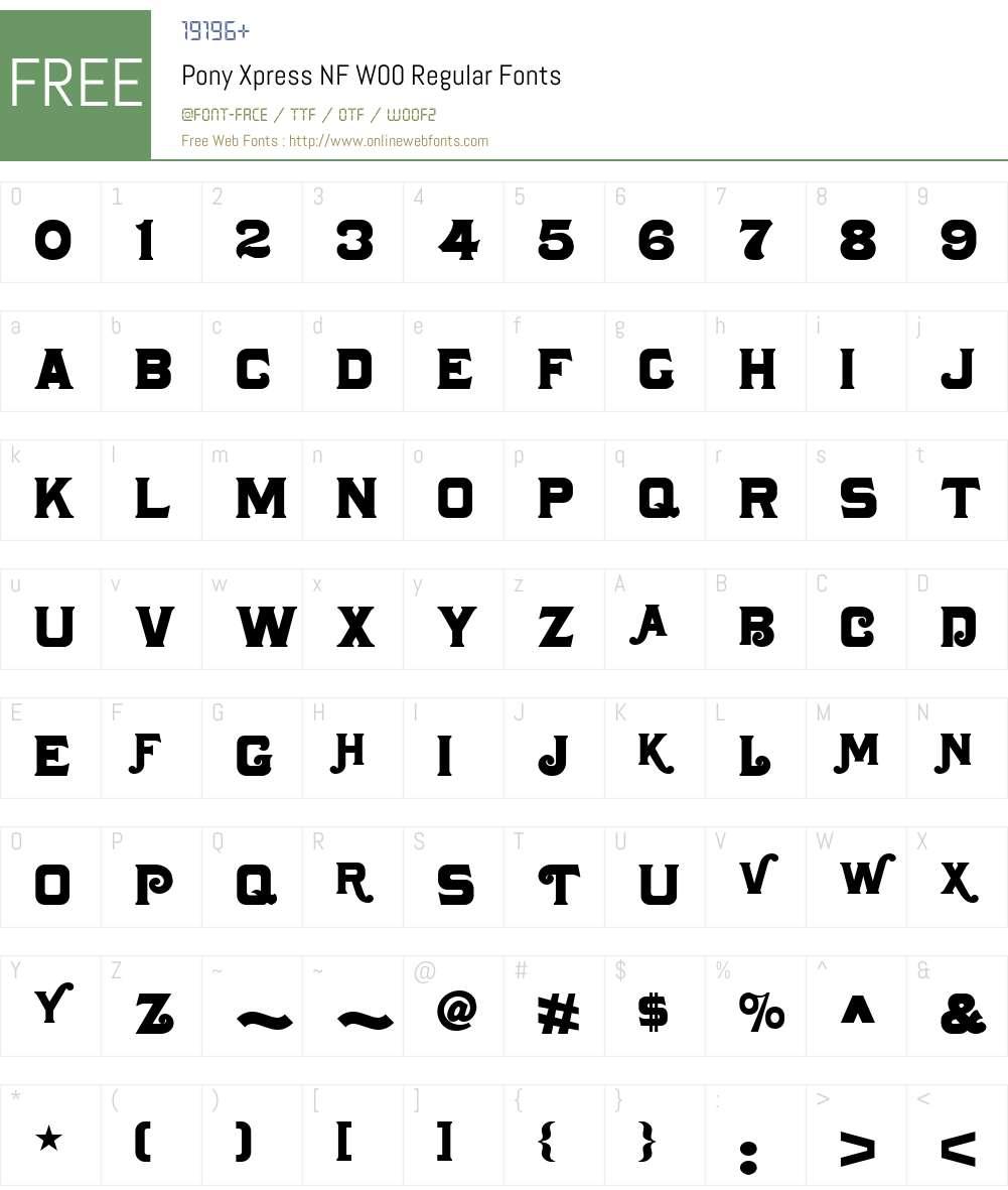 PonyXpressNFW00-Regular Font Screenshots