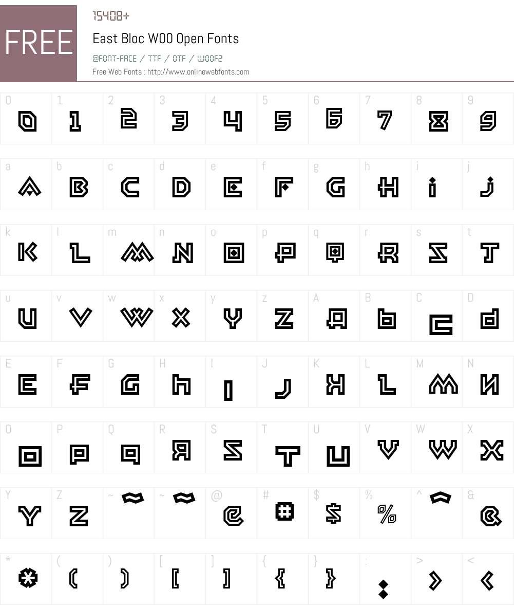 EastBlocW00-Open Font Screenshots