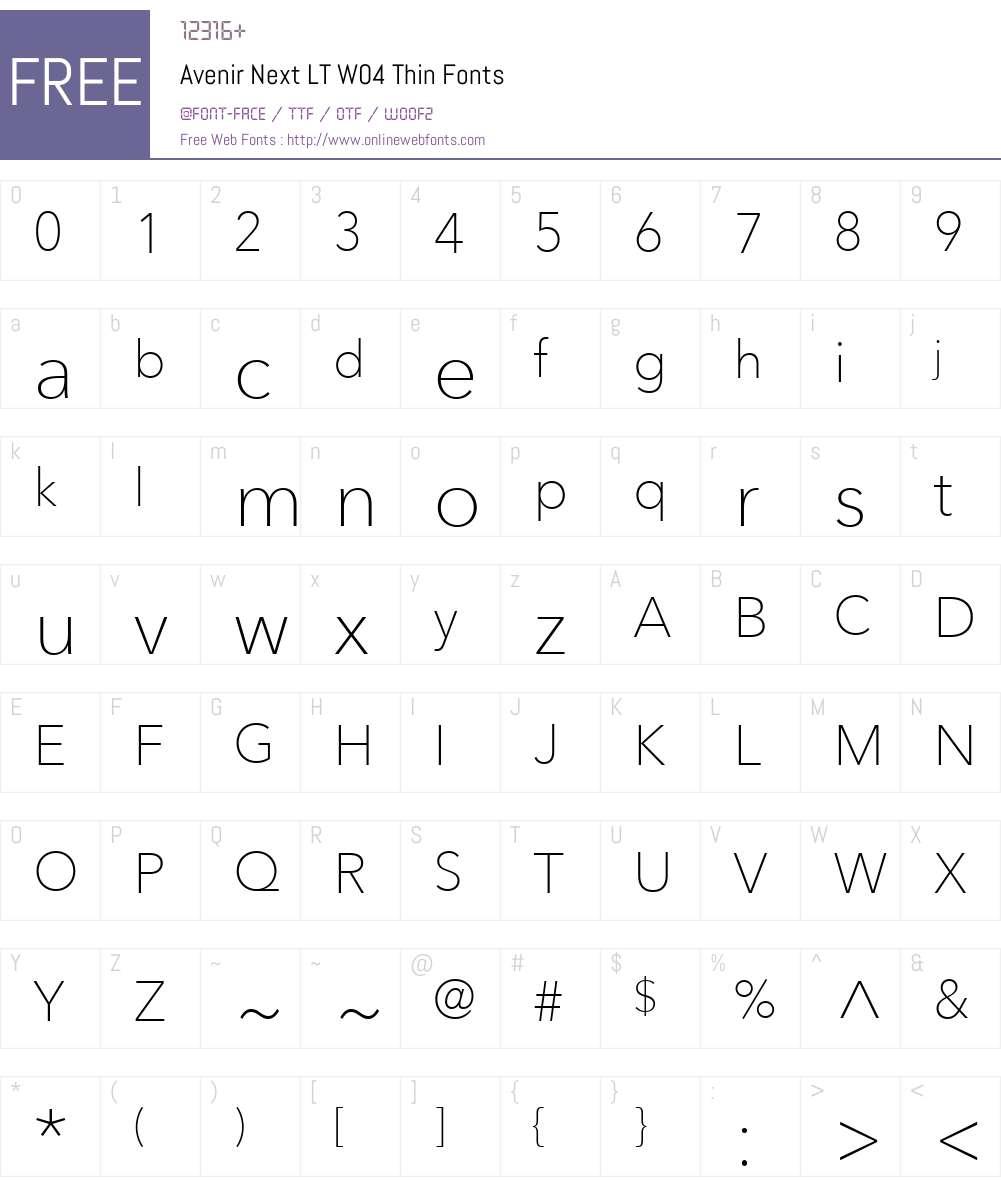 AvenirNextLTW04-Thin Font Screenshots