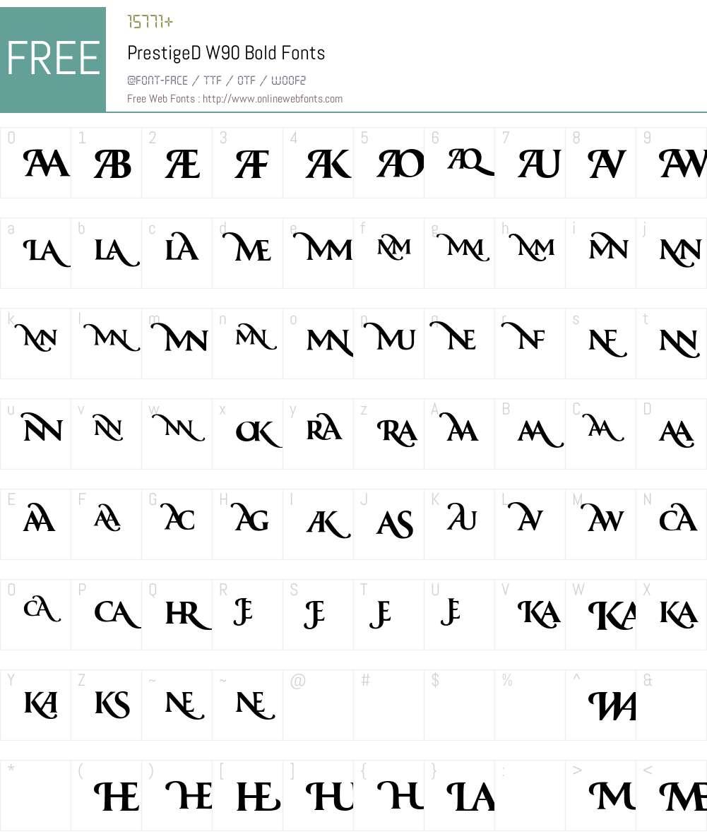 PrestigeDW90-Bold Font Screenshots