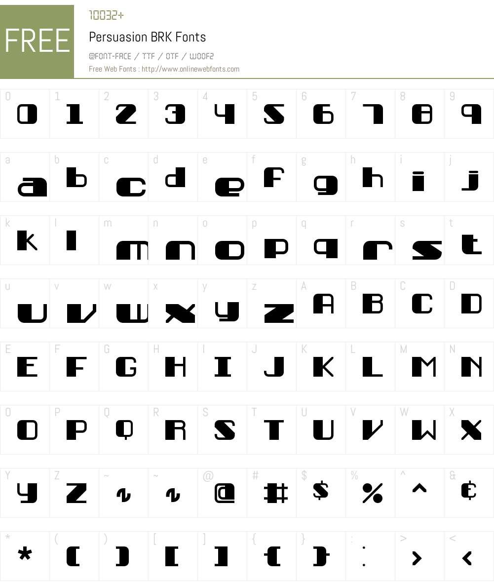 Persuasion BRK Font Screenshots