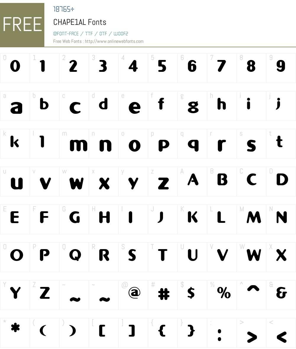 CHAPE1AL Font Screenshots