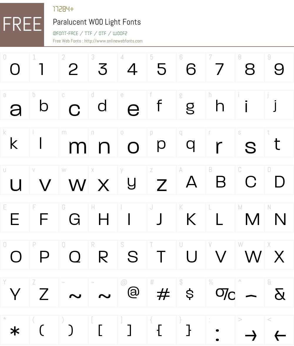 ParalucentW00-Light Font Screenshots