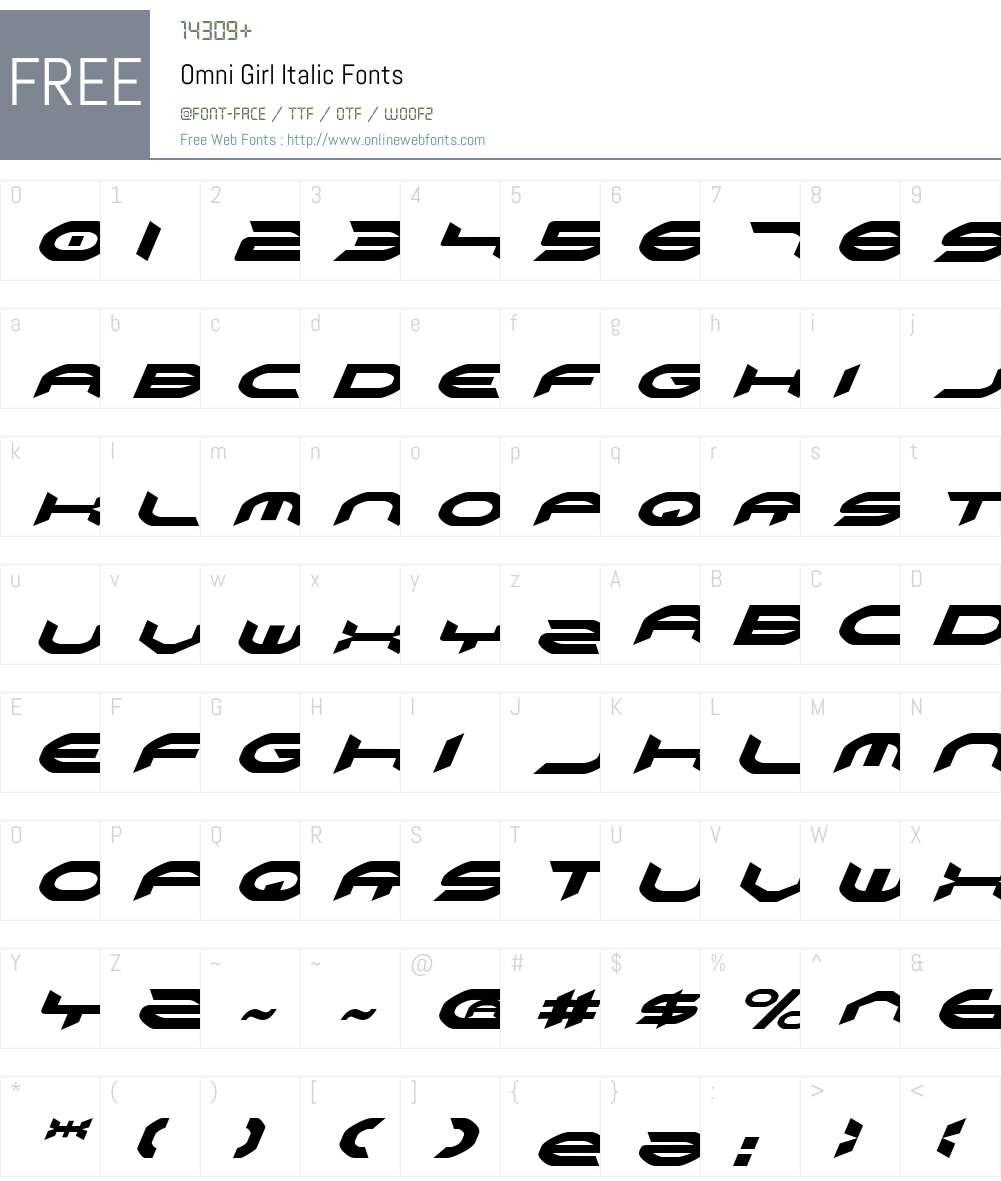 Omni Girl Italic Font Screenshots