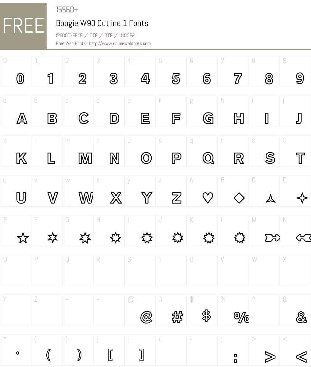 BoogieW90-Outline1 Font Screenshots