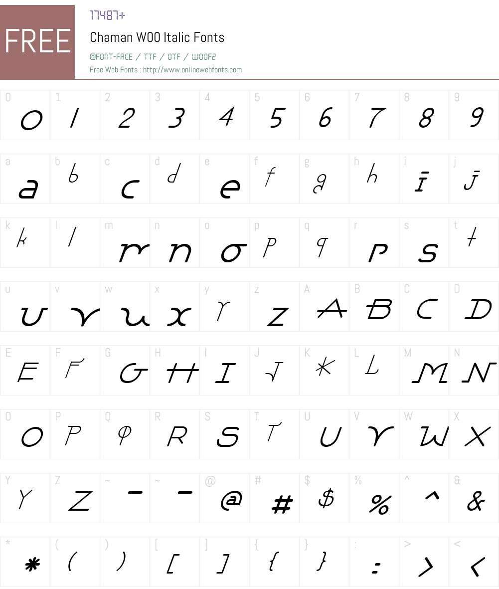 ChamanW00-Italic Font Screenshots