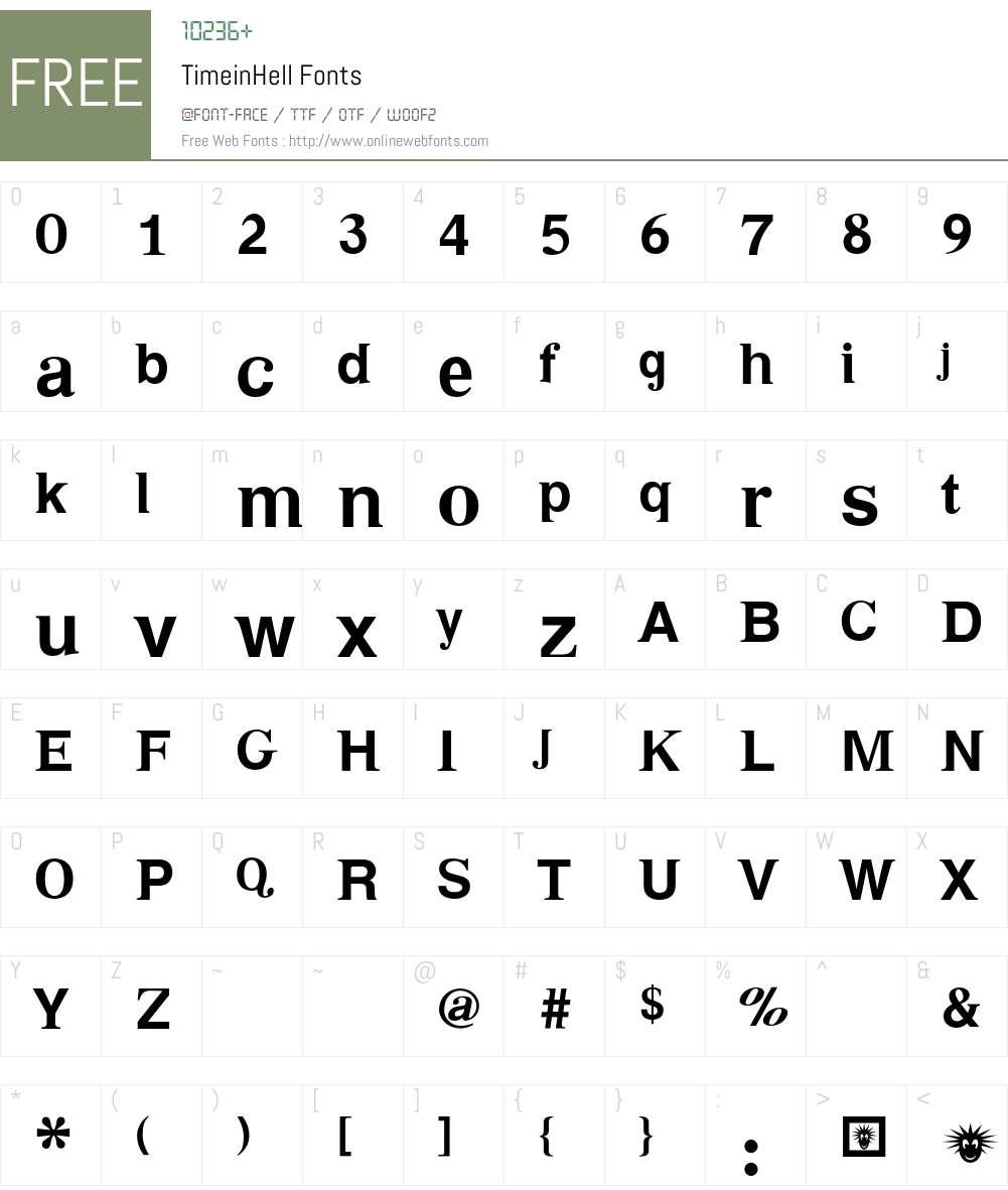 TimeinHell Font Screenshots