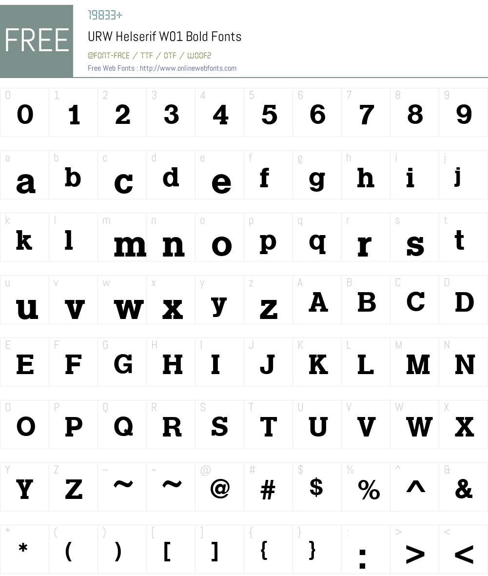 URWHelserifW01-Bold Font Screenshots