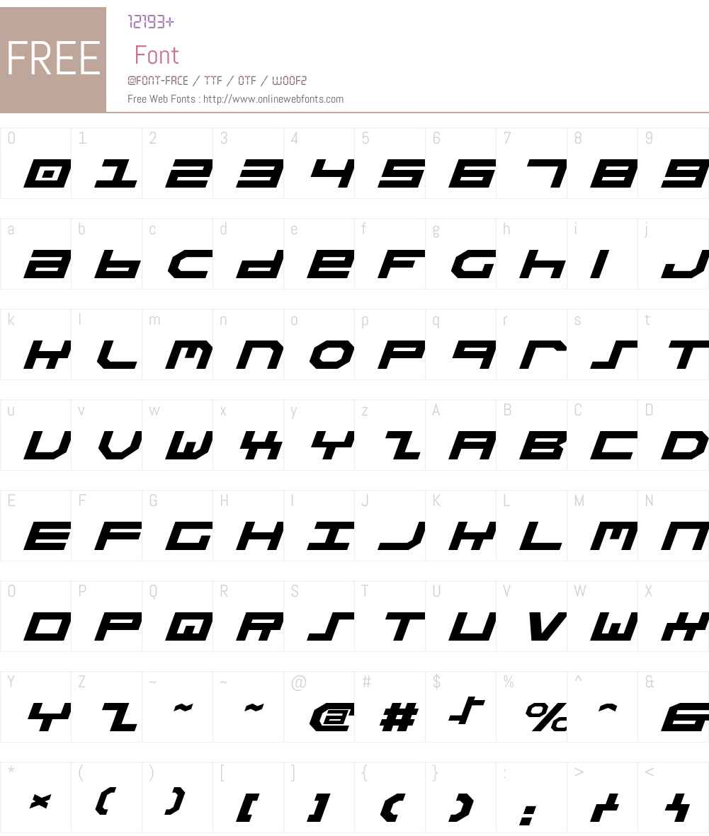 Stuntman Expanded Italic Font Screenshots