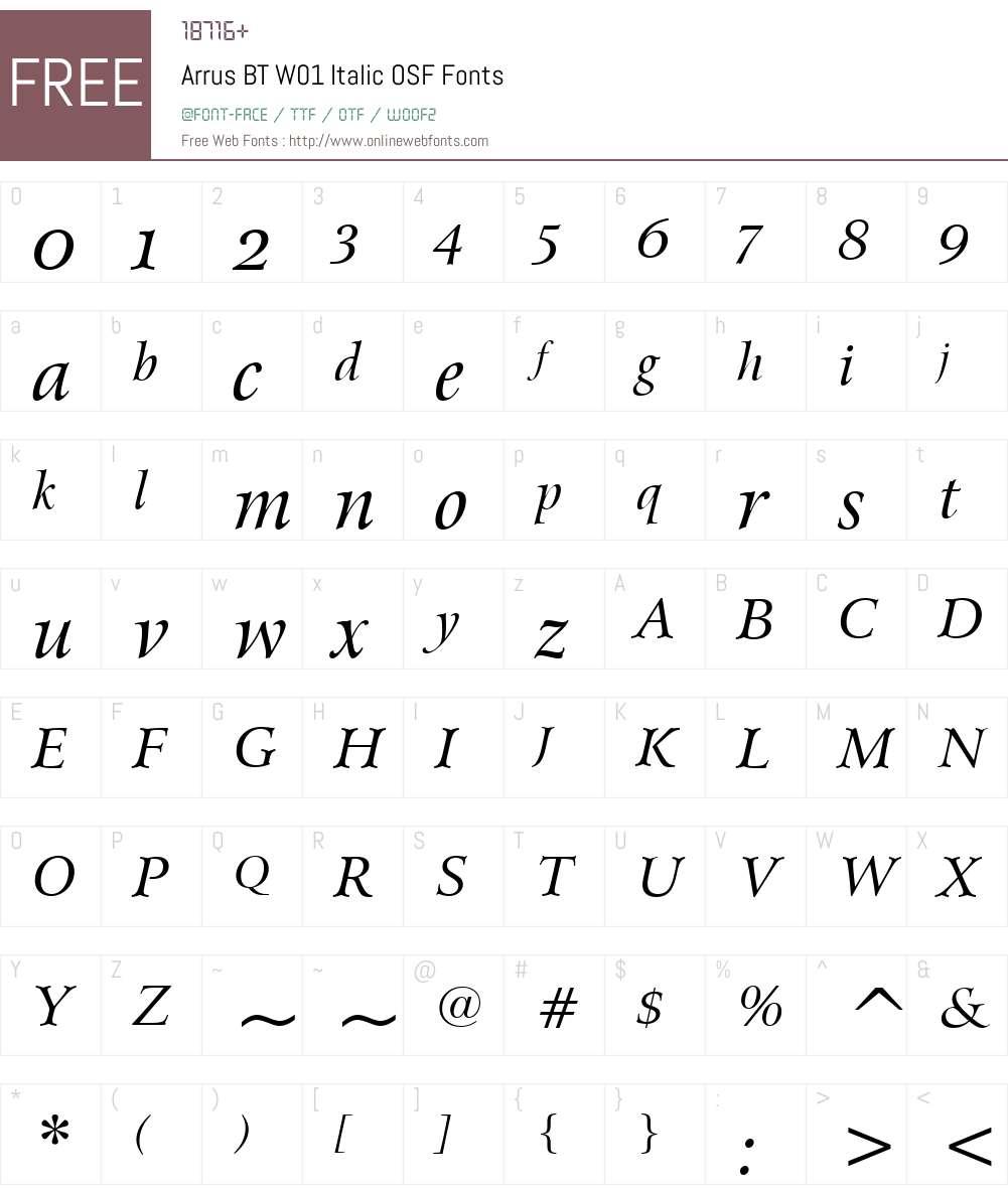 ArrusBTW01-ItalicOSF Font Screenshots