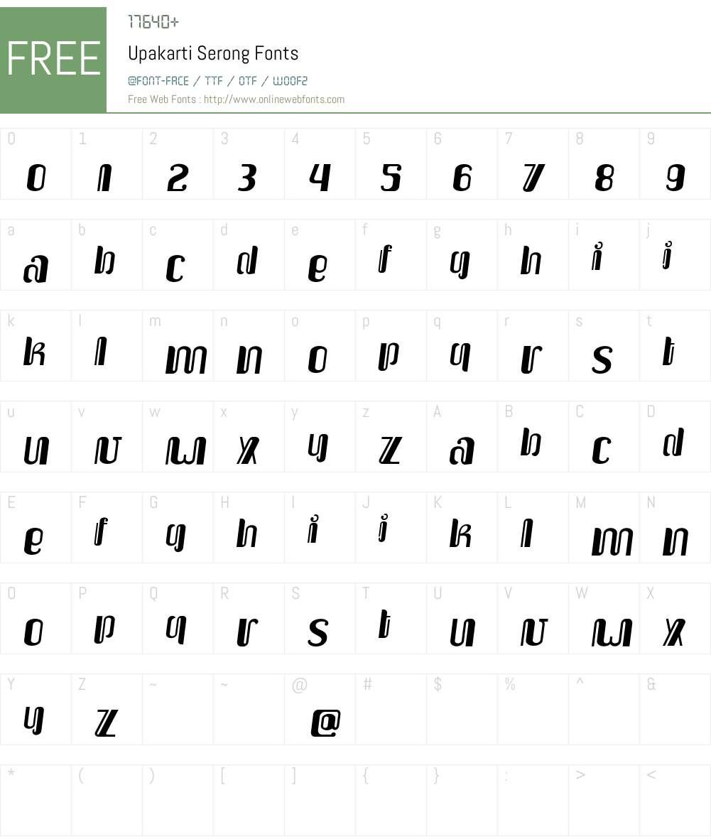 Upakarti Serong Font Screenshots