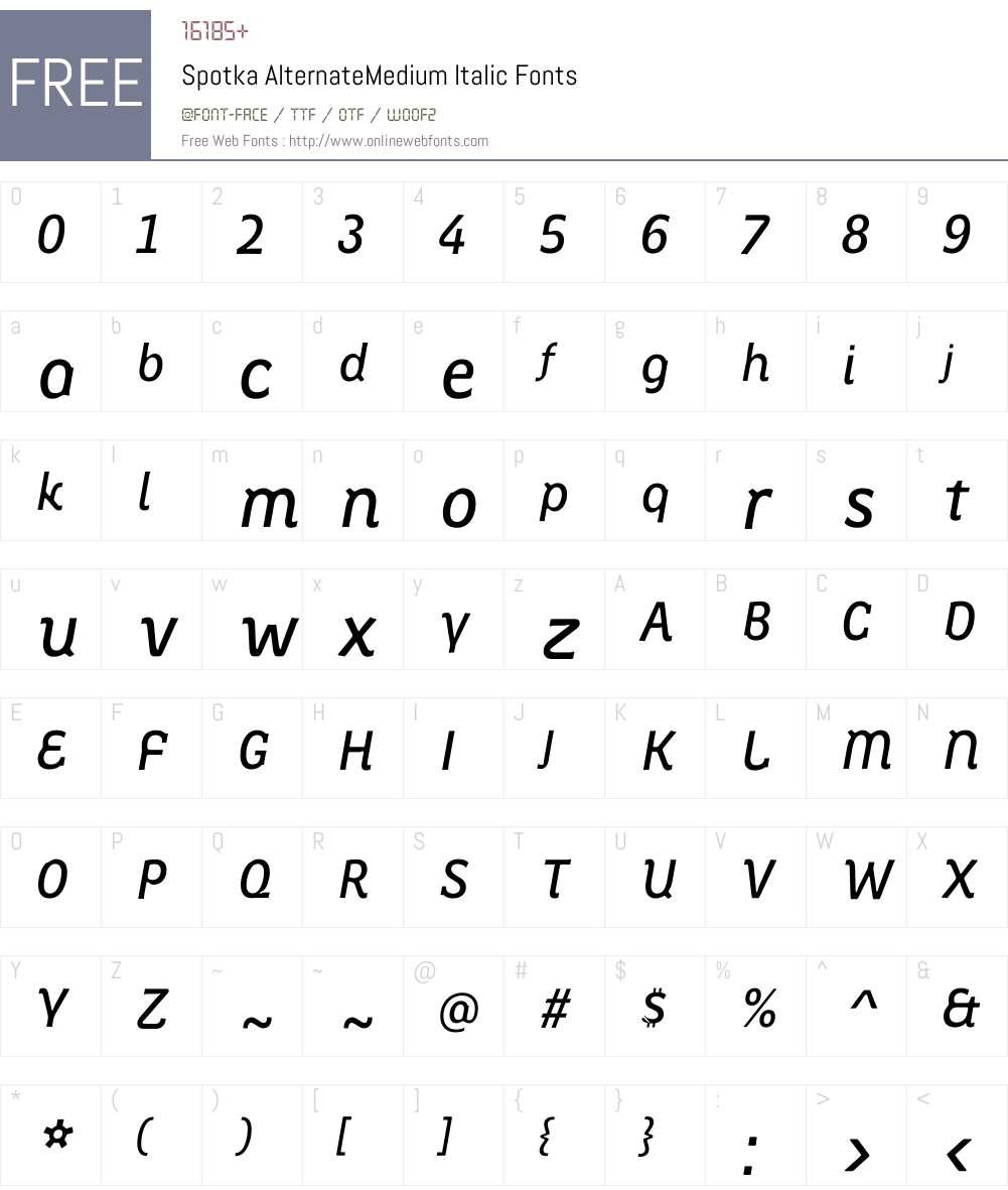 Spotka AlternateMedium Italic Font Screenshots
