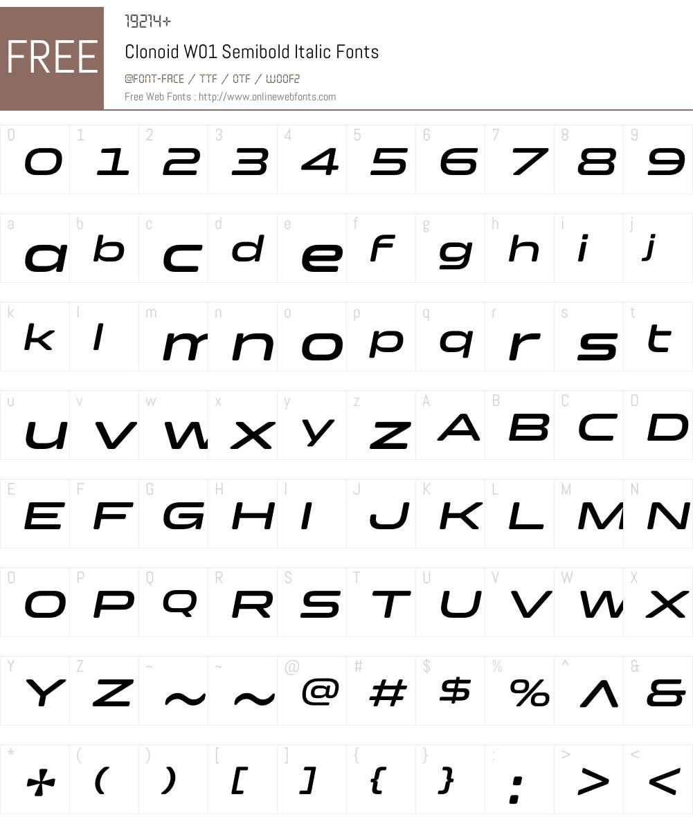ClonoidW01-SemiboldItalic Font Screenshots
