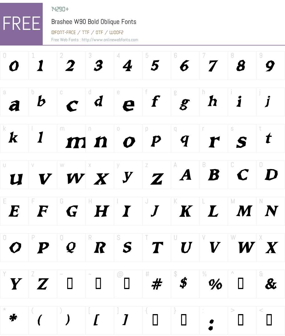 Brashee Font Screenshots