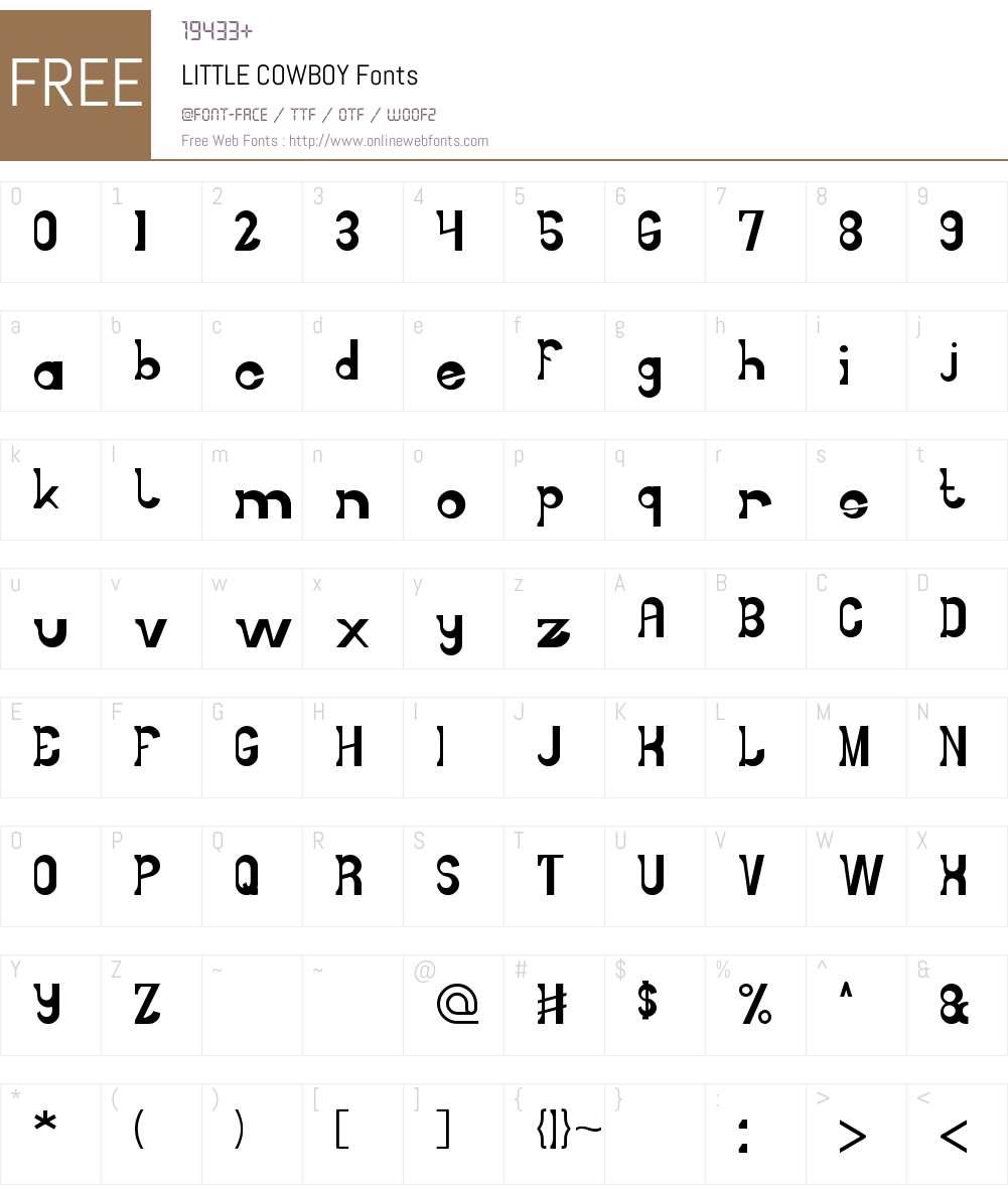 LITTLE COWBOY Font Screenshots
