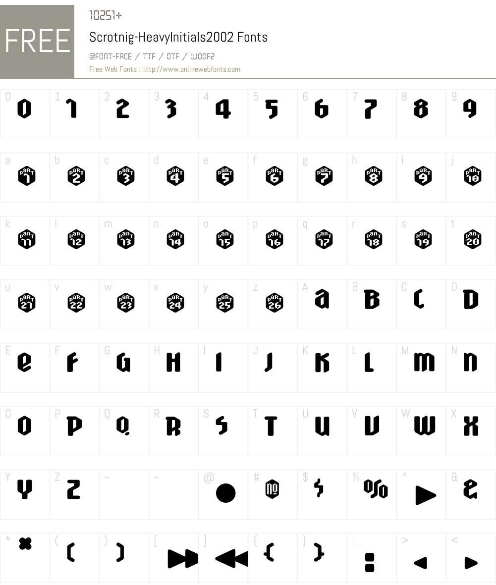 Scrotnig Font Screenshots