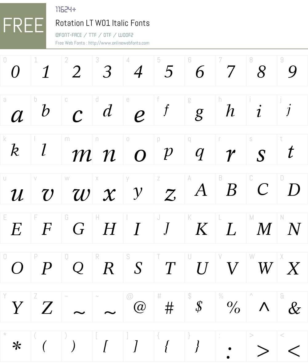 RotationLTW01-Italic Font Screenshots