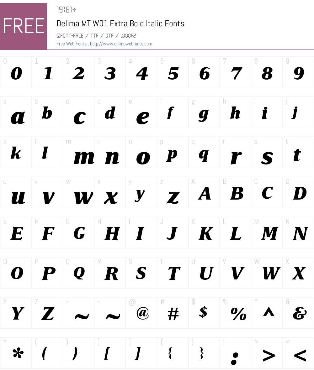 DelimaMTW01-ExtraBoldItalic Font Screenshots