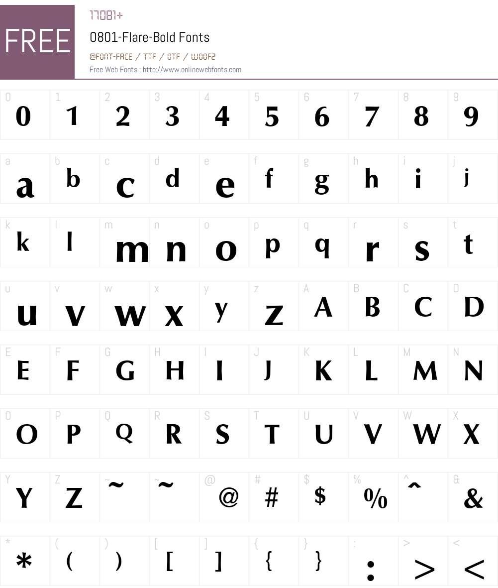 O801-Flare Font Screenshots