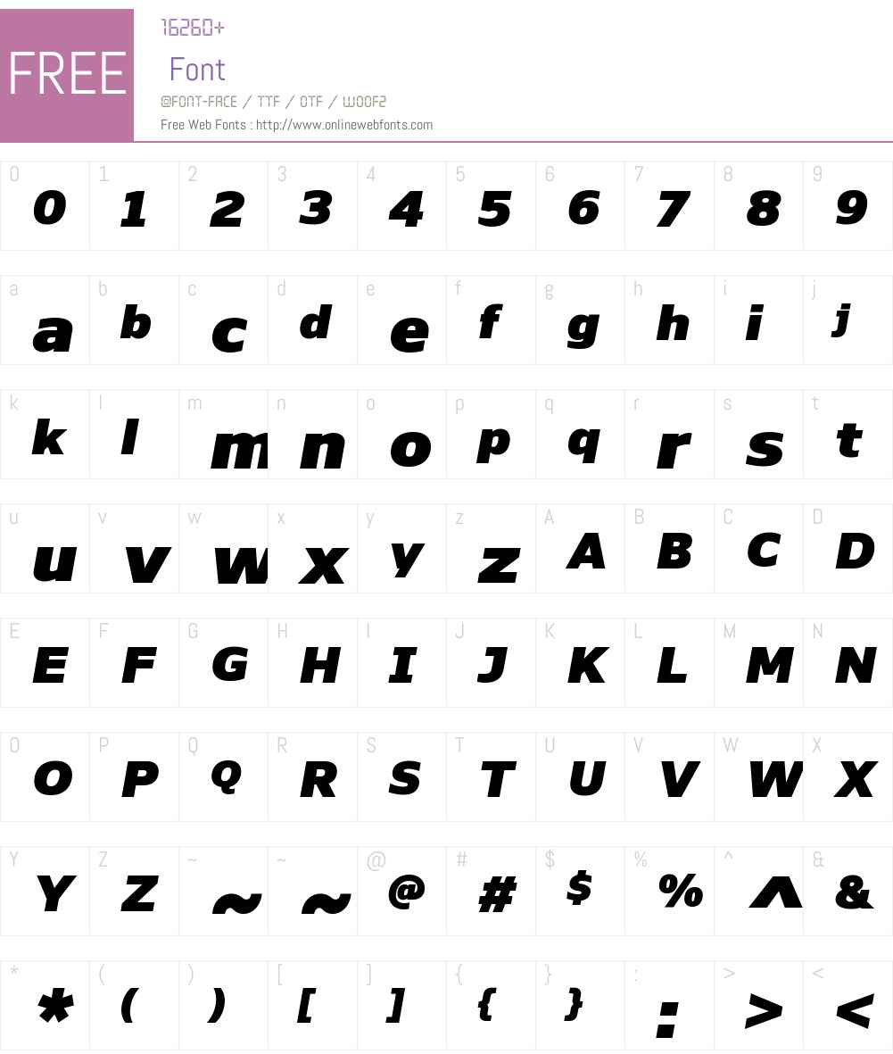 NaumanW00-BlackItalic Font Screenshots