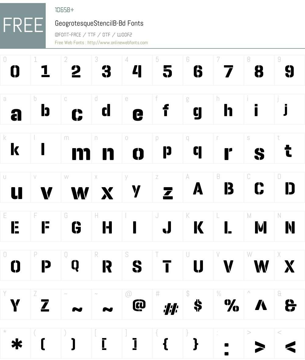 Geogrotesque Stencil B Bd Font Screenshots