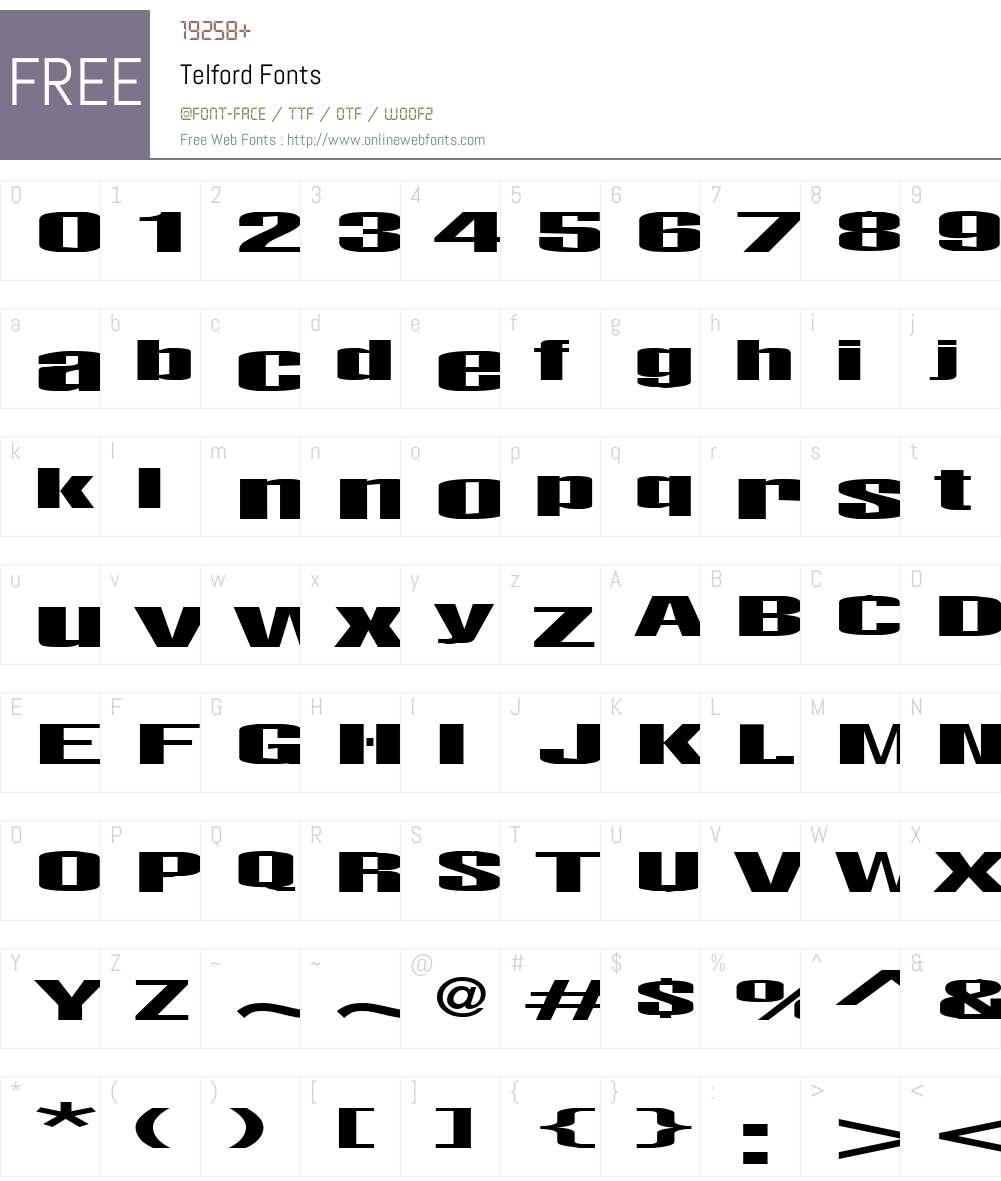 Telford Font Screenshots